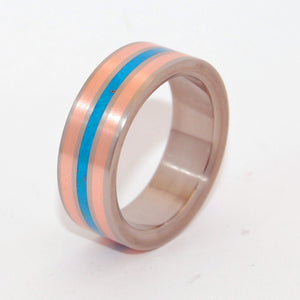 Campitos Mountain | Copper and Turquoise Titanium Wedding Ring - Minter and Richter Designs
