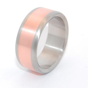 Mens Wedding Ring - Copper and Titanium Wedding Ring Set | CANDLELIGHT SATIN
