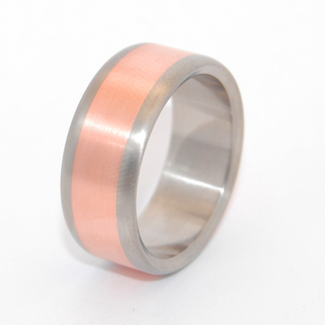 Mens Wedding Ring - Copper and Titanium Wedding Ring Set | CANDLELIGHT SATIN - Minter and Richter Designs