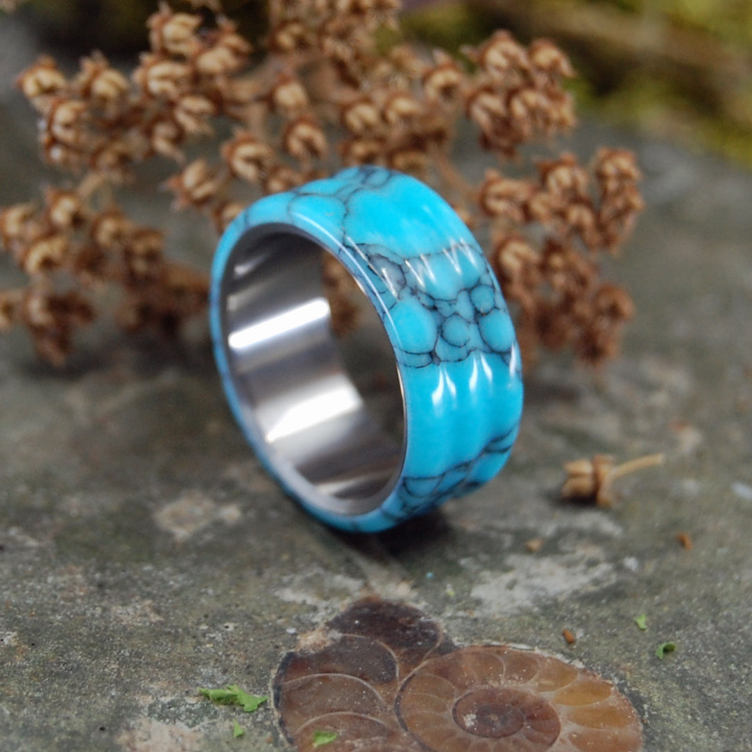 CARVED TURQUOISE | Turquoise & Titanium Mens Wedding Rings - Minter and Richter Designs