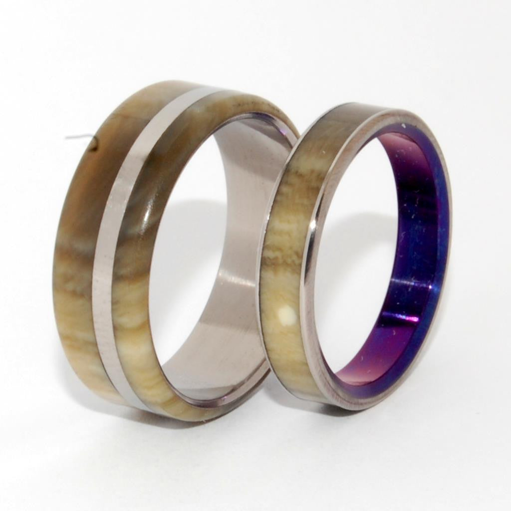 HAPPY LOVE | Cattle Horn & Titanium Wedding Rings - Purple Rings - Minter and Richter Designs