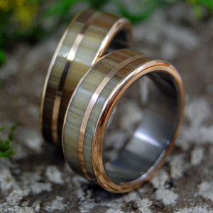 CATTLE HORN AND BRONZE | Cattle horn, Titanium & Bronze Wedding Rings Set - Minter and Richter Designs
