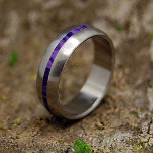 CHAROITE DOME | Purple Charoite Stone Women's Titanium Wedding Rings - Minter and Richter Designs