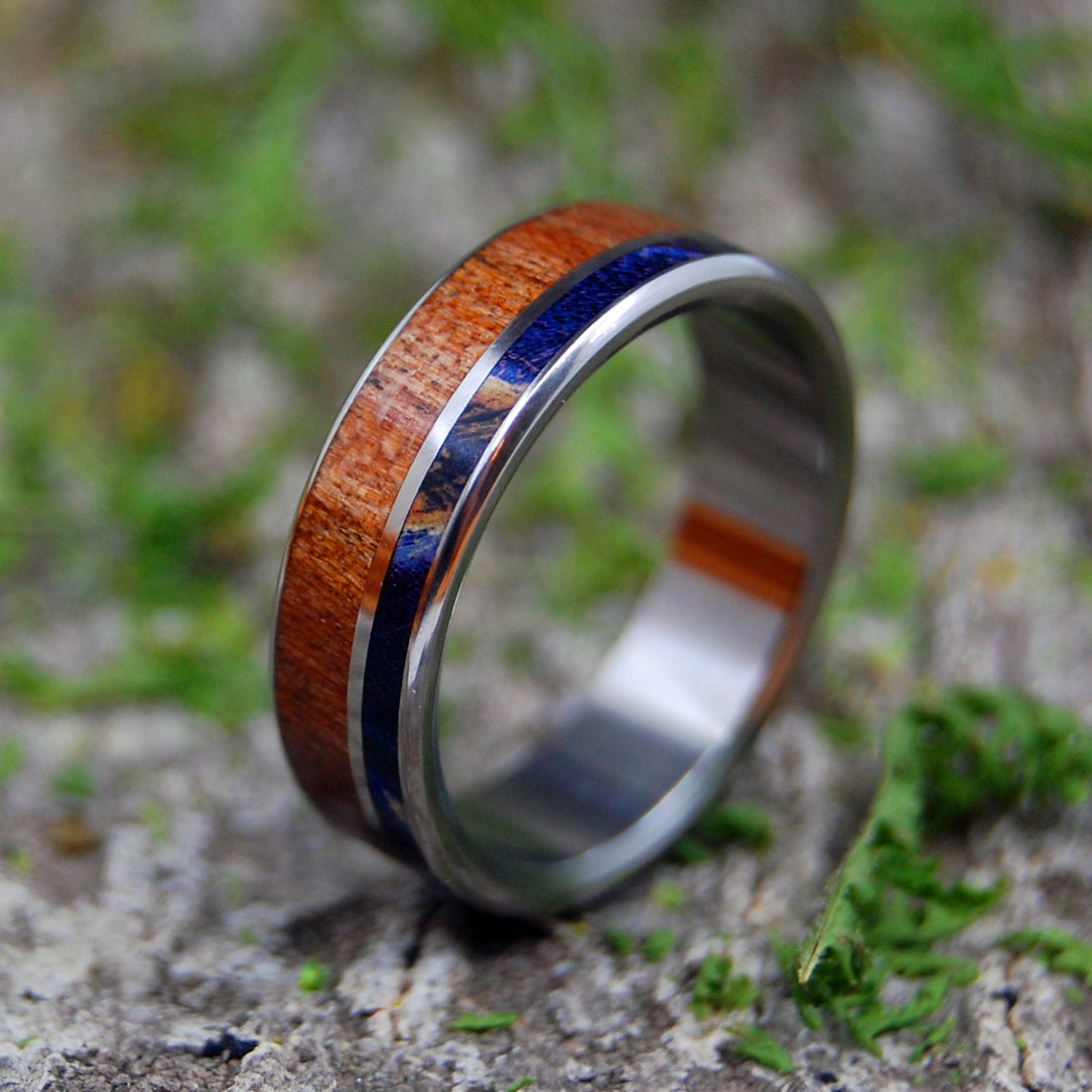CHERRY BLUE WOOD | Titanium & Wood Wedding Ring - Minter and Richter Designs