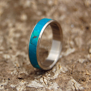 Rounded Chrysocolla | Handcrafted Women's Titanium Wedding Rings