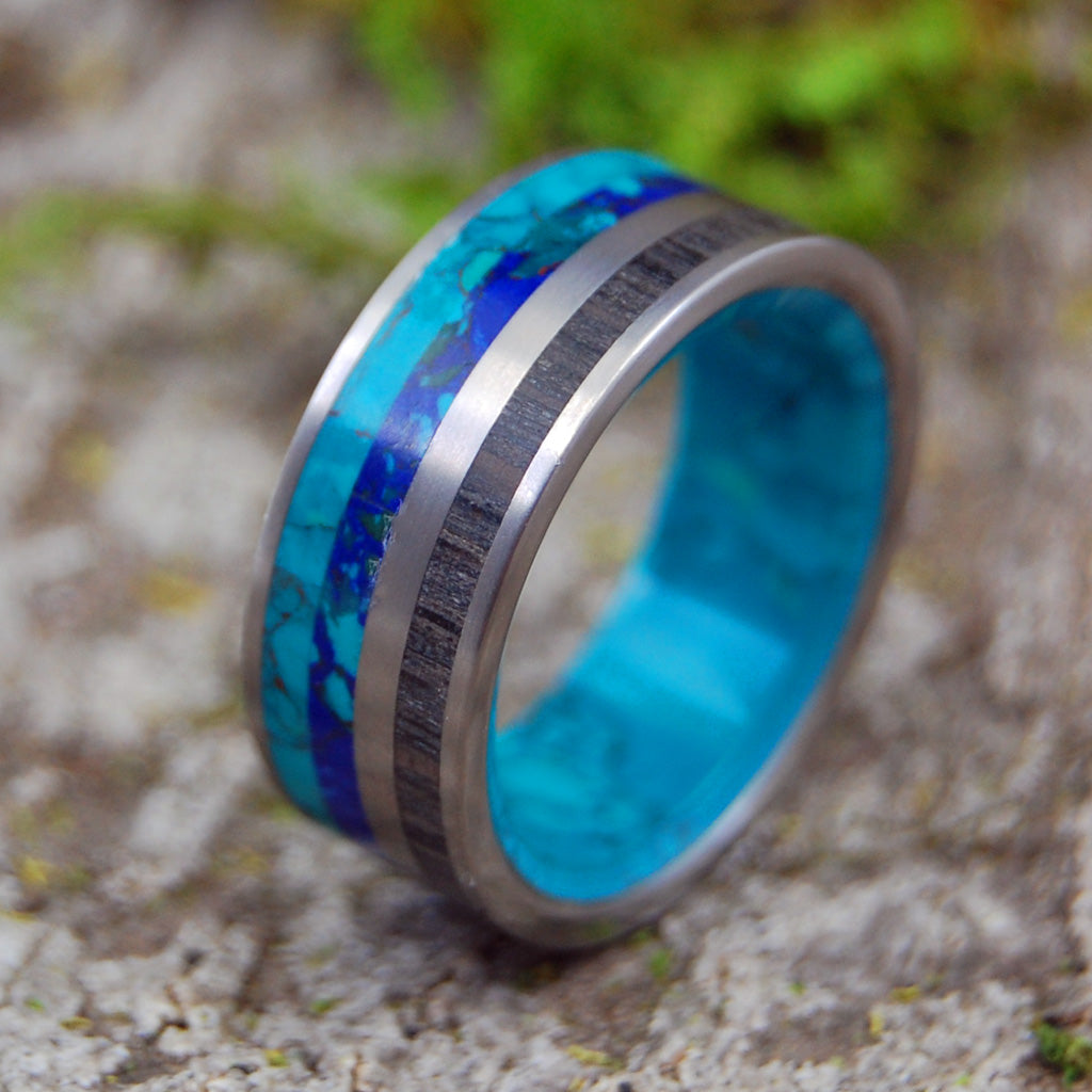 BOG & STONE | Chrysocolla & Bog Oak Wood Titanium Wedding Rings - Minter and Richter Designs