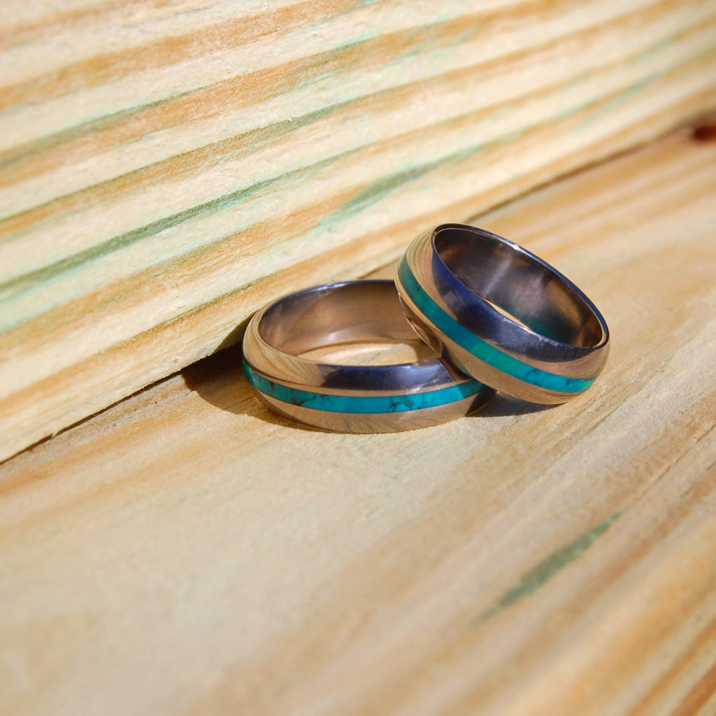 CHRYSOCOLLA MAHALO | Stone Wedding Rings - Handmade Titanium Rings - Minter and Richter Designs