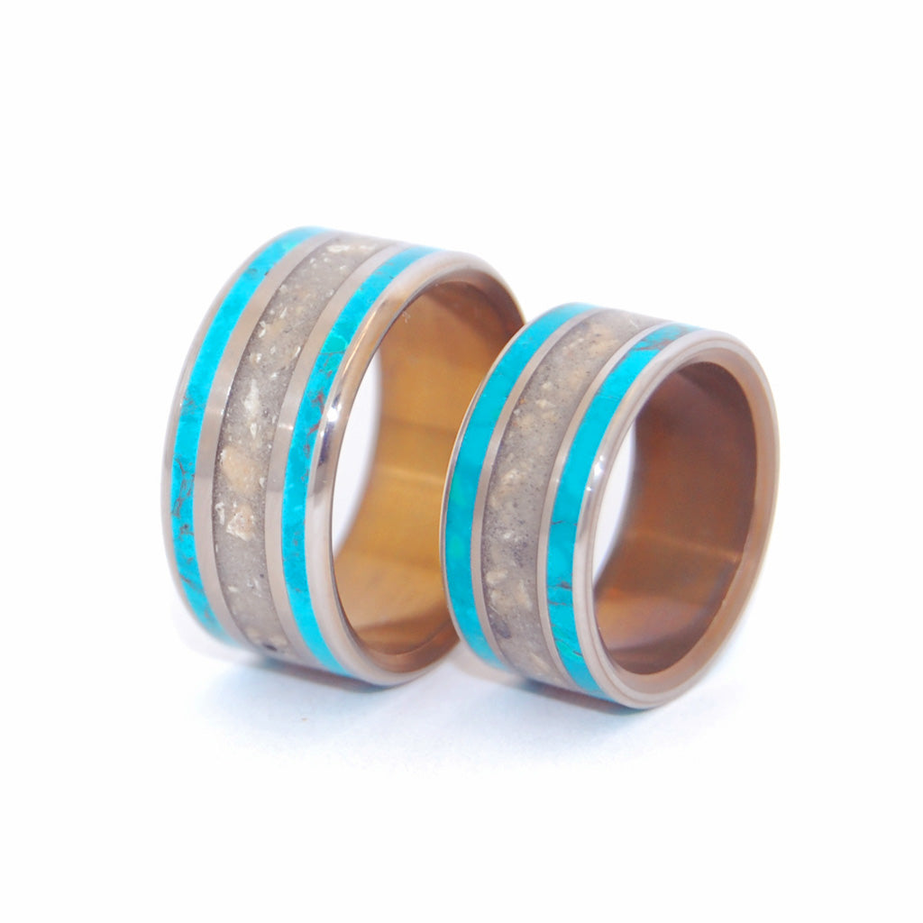 SEA OF GALILEE | Israel Beach Sand & Chrysocolla Stone Unique Wedding Rings sets - Minter and Richter Designs