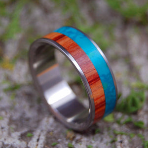 COOL SEA RICH FOREST | Tulip Wood & Chrysocolla Stone Titanium Wedding Rings - Minter and Richter Designs