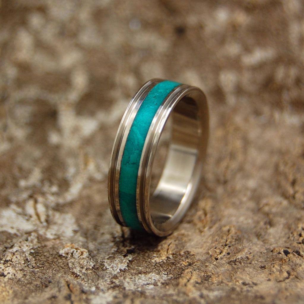 CLEOPATRA'S DESIRE | Imperial Jade Handcrafted Women's Titanium Wedding Rings - Minter and Richter Designs