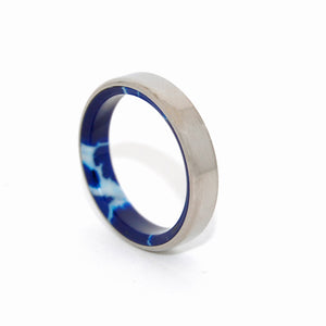LOOKING AT WORLD | Cobalt Stone & Titanium - Unique Wedding Rings - Minter and Richter Designs