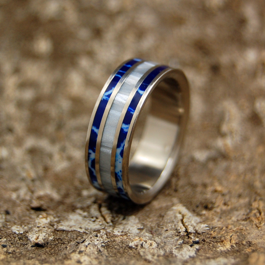 COBALT BLUE | Cobalt Stone & Gray Marbled Resin Titanium Women's & Men's Wedding Rings - Minter and Richter Designs