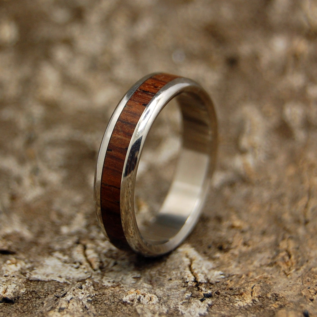 Rounded Cocobolo Wood Wedding Ring | Handcrafted Women's Titanium Wedding Rings