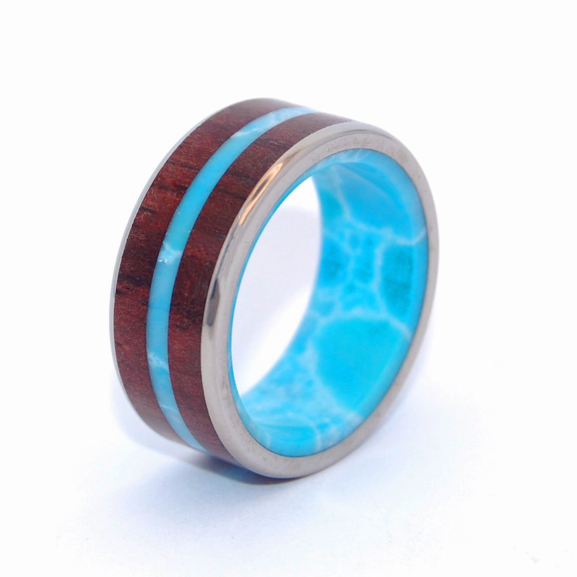 MAN FROM THE SEA | Cocobolo Wood & Dominican Larimar Stone Titanium Wedding Rings - Minter and Richter Designs