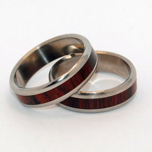 Wooden and Titanium Wedding Ring Set | Warmth