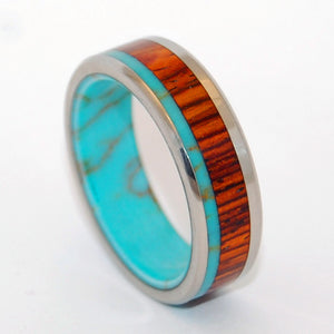 FORESTS OF TIBET | Tibetan Turquoise & Cocobolo Wood Titanium Wedding Rings - Minter and Richter Designs