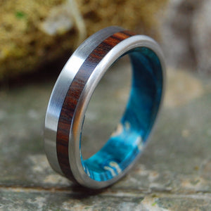 PRIVATE UNIVERSE | Blue Box Elder Wood & Cocobolo Wood Titanium Wedding Rings - Minter and Richter Designs