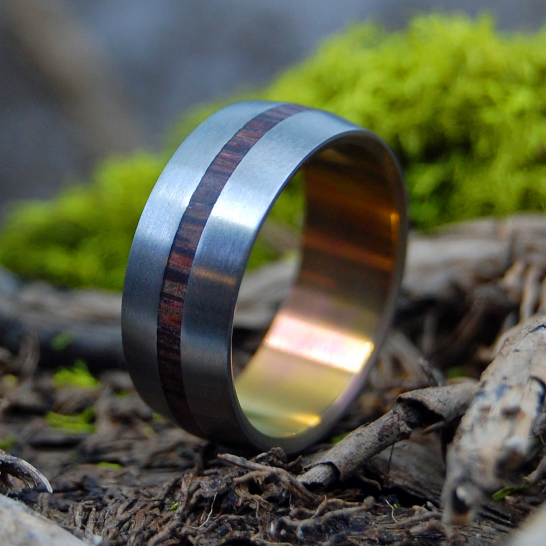 HEAT LIGHTNING | Cocobolo Wood Titanium Wedding Rings - Minter and Richter Designs