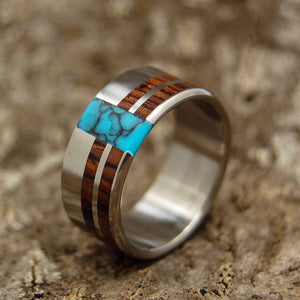 Mens Wedding Rings - Custom Mens Rings - Turquoise and Wood Rings | COMET AND CONSTELLATION