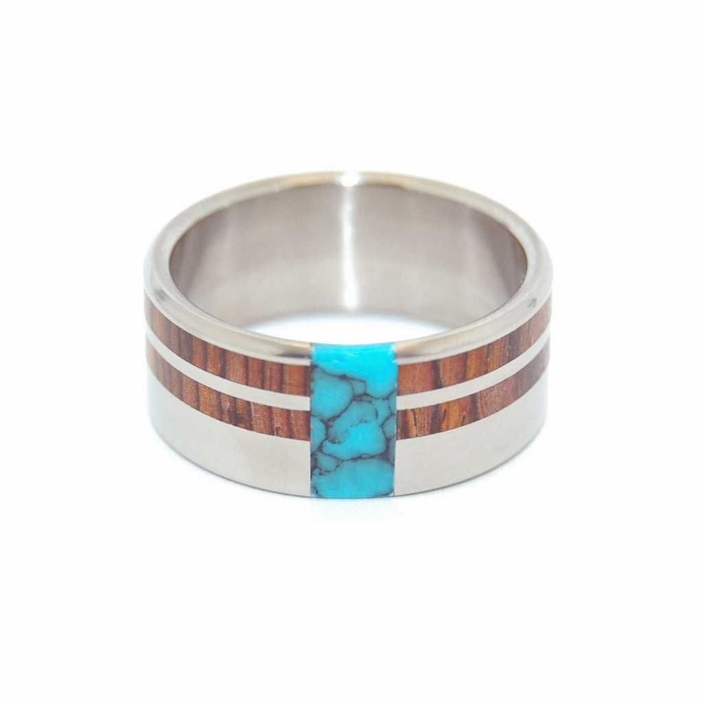 COMET & CONSTELLATION | Cocobolo Wood & Turquoise Titanium Men's Wedding Rings - Minter and Richter Designs