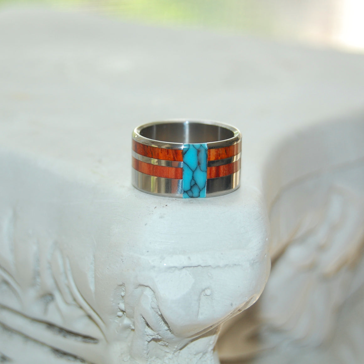 COMET & CONSTELLATION | Tulip Wood, Cocobolo Wood & Turquoise Titanium Men's Wedding Rings - Minter and Richter Designs