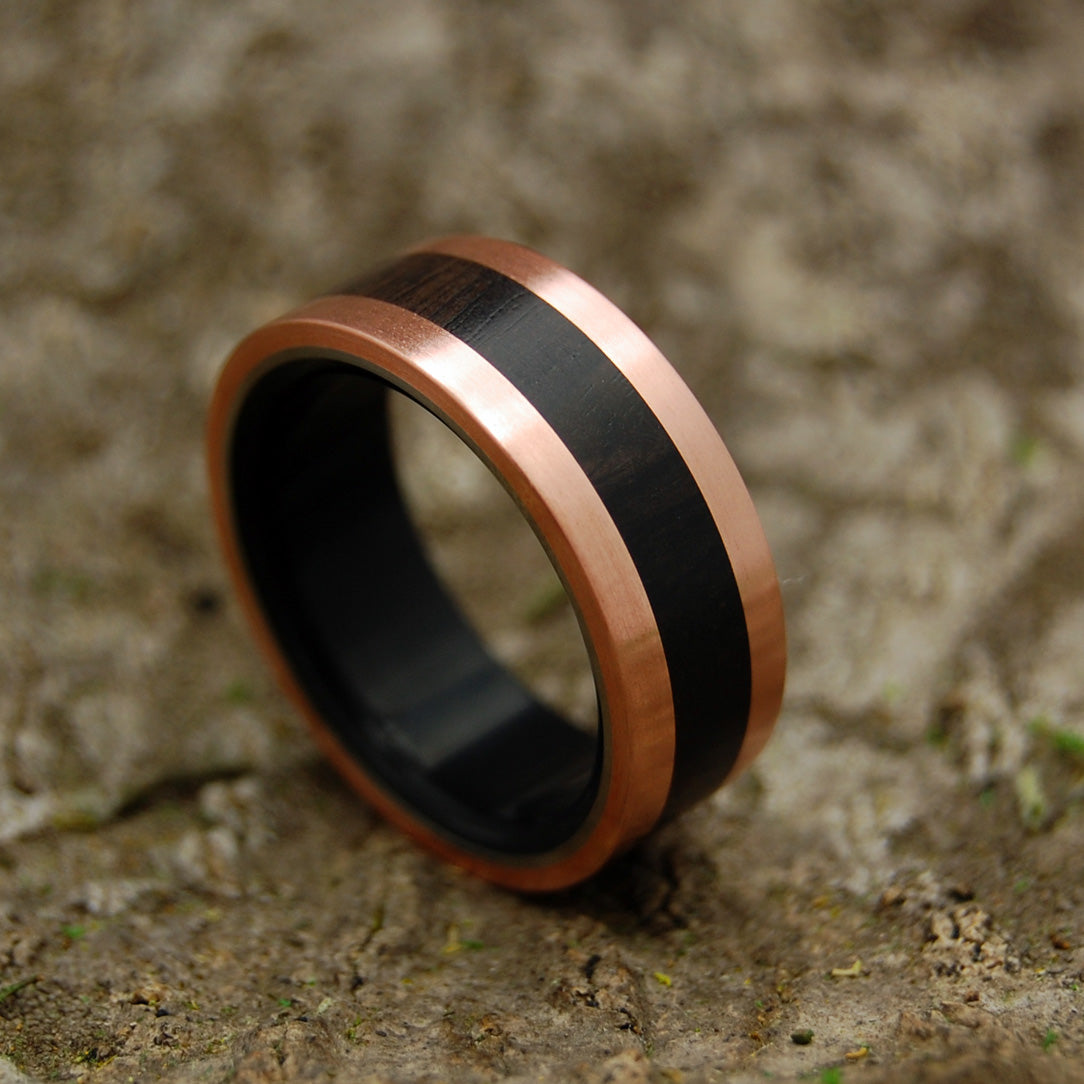 AFRICAN COPPER KING - Copper & Ebony Wood Titanium Men's Wedding Rings - Minter and Richter Designs