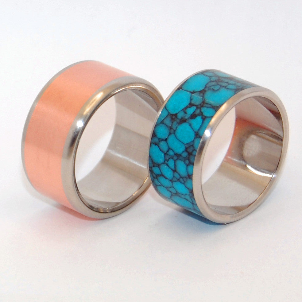 New Spin on Old Earth | Copper and Stone Titanium Wedding Ring Set