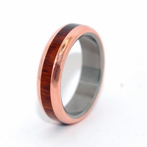 COPPER WOOD TRIUMPH | Snake Wood & Copper Titanium Unique Wedding Rings - Minter and Richter Designs