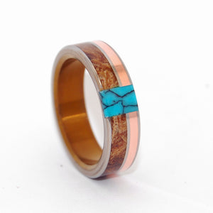 COPPER MAPLE TREE | Maple Wood, Turquoise & Copper Titanium Wedding Rings - Minter and Richter Designs