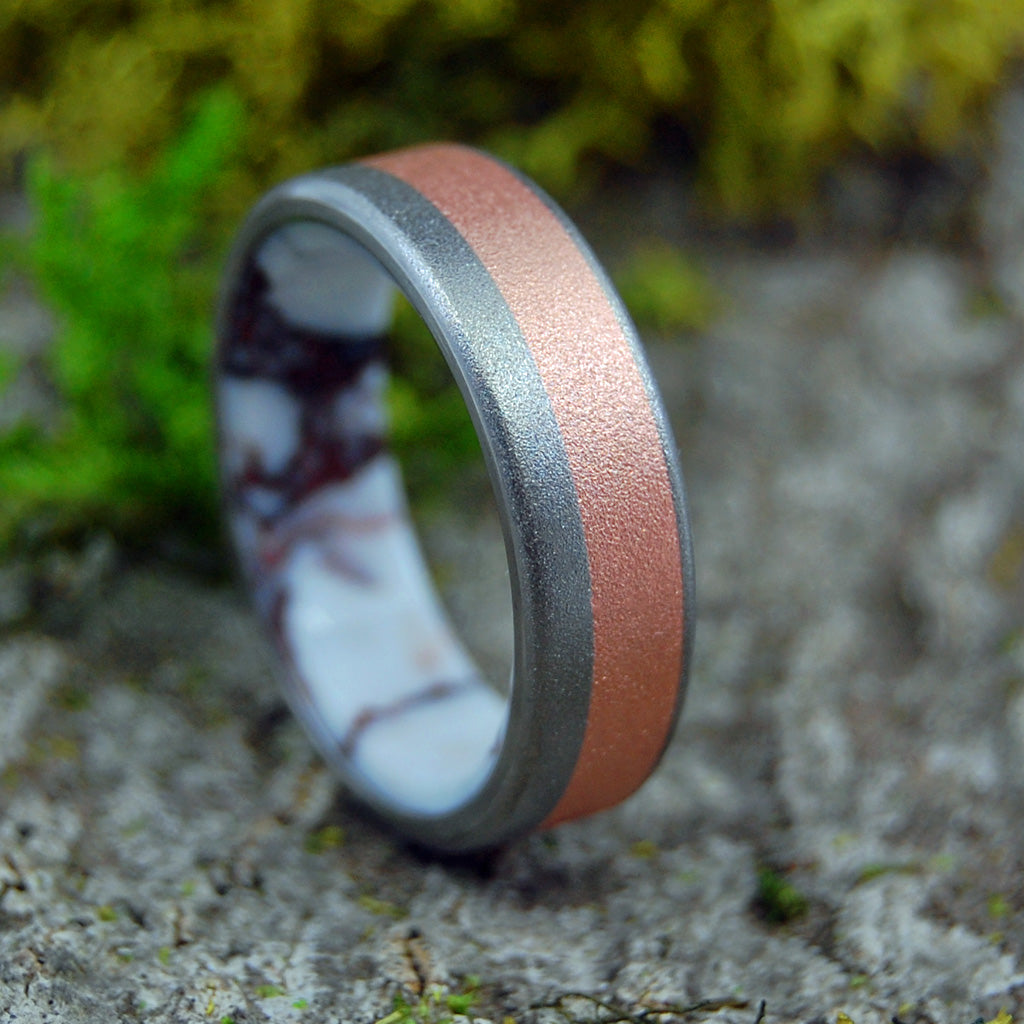 Mens Ring - Stone Titanium Wedding Ring | GLASS BLASTED COPPERSTONE