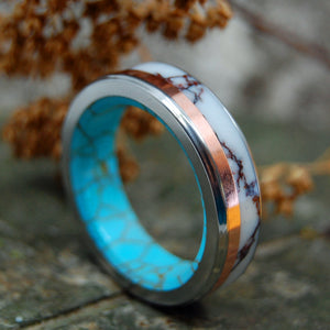 WILD COPPER LIGHTNING | Copper, Jasper Stone & Turquoise Titanium Wedding Rings - Minter and Richter Designs