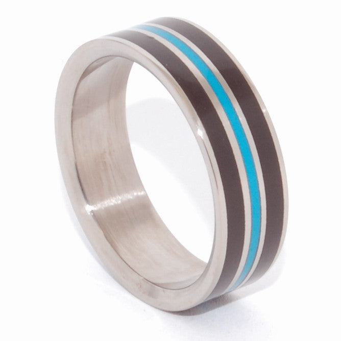 Crazy Heart | Onyx and Turquoise Titanium Wedding Band