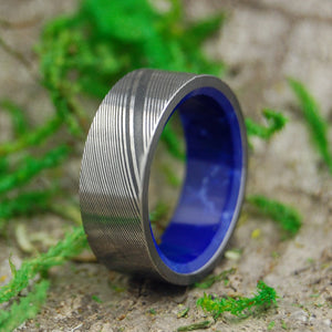 SEA WALL | Damascus Damasteel & Sodalite Stone Blue Wedding Rings - Minter and Richter Designs