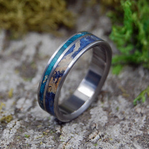 BLUE BOX ELDER BLISS | Titanium & Blue Box Elder Wood Wedding Rings - Minter and Richter Designs