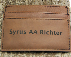 Customizable Dark Brown Leatherette Wallet and Money Clip