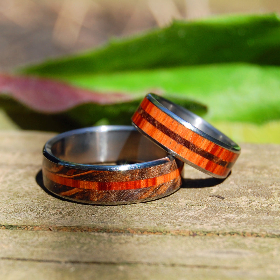 HOW QUICKLY | Maple Wood Wedding Rings - Unique Wedding Rings Set - Minter and Richter Designs