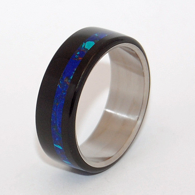 this durable band boasts a deep onyx stone and azurite malachite stone - Onyx Wedding Ring