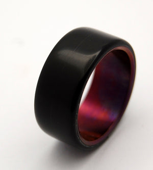 CRIMSON NIGHT | Black Onyx & Bronze Wine Anodized - Titanium Wedding Rings - Minter and Richter Designs