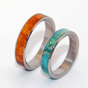 2 HEARTS 1 SOUL |  Desert Ironwood & Blue Box Elder Wood Titanium & Wood Wedding Rings - Minter and Richter Designs