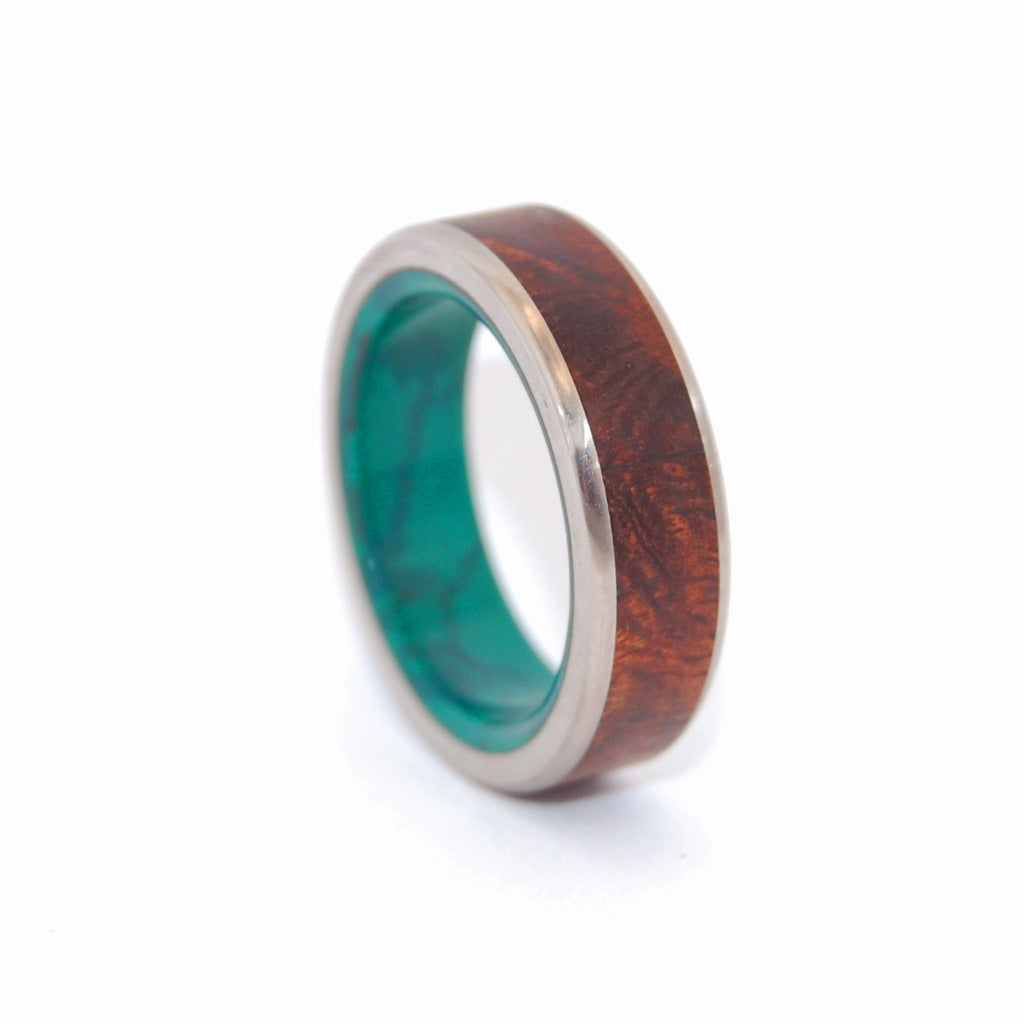 NO LITTLE LOVE | Desert Ironwood & Jade Stone Wedding Rings Unique Wedding Rings - Minter and Richter Designs