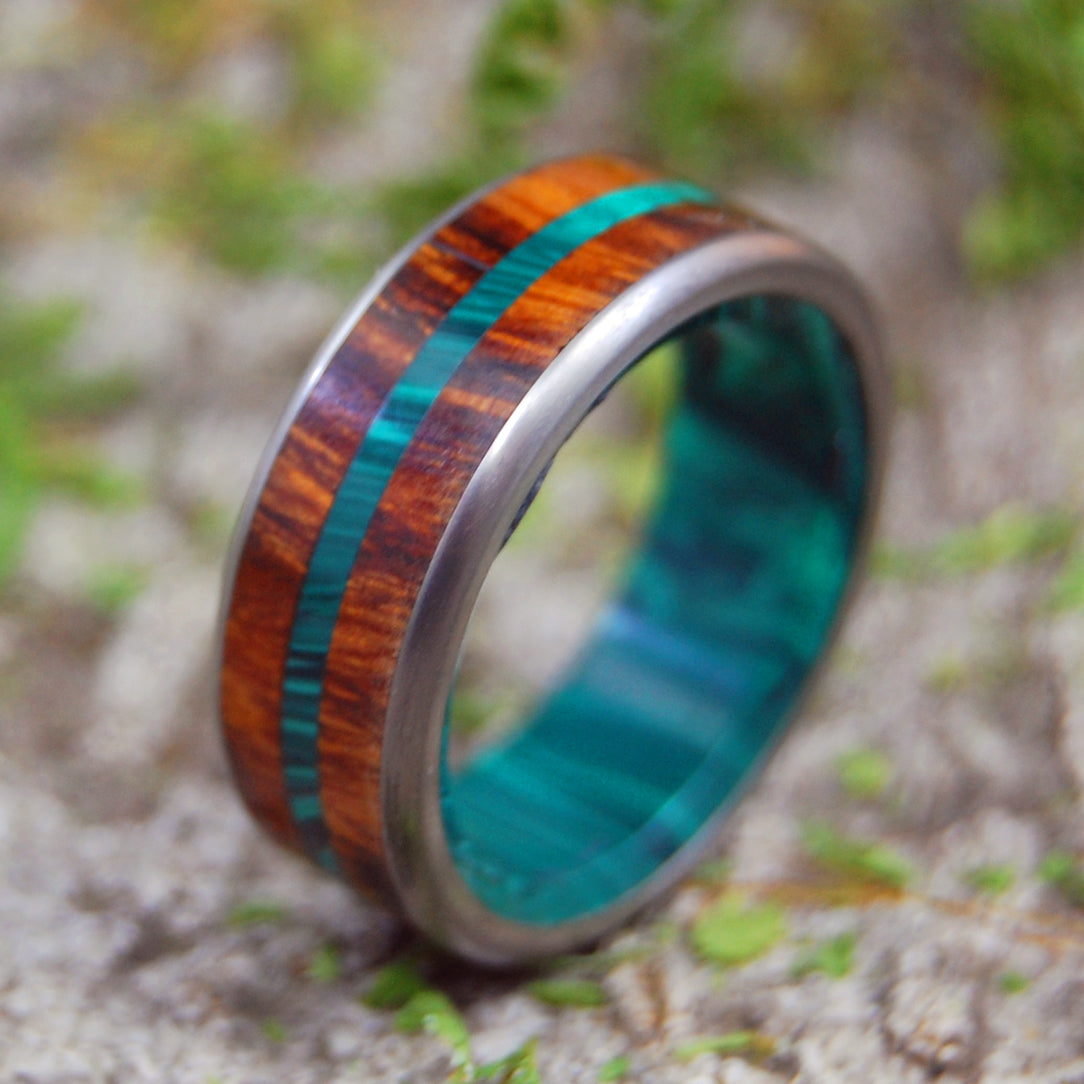 IN THE MIDST OF DESERT IRONWOOD | Malachite Stone & Wood Titanium Wedding Rings - Minter and Richter Designs