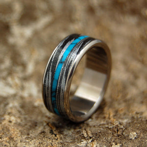 DESIROUS | Turquoise & Black Silver M3 Mokume Gane Titanium Wedding Rings - Minter and Richter Designs