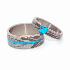 DESIROUS & DESIRE'S WHIRLWIND | Turquoise & Black Silver M3 Mokume Gane Titanium Wedding Rings - Minter and Richter Designs
