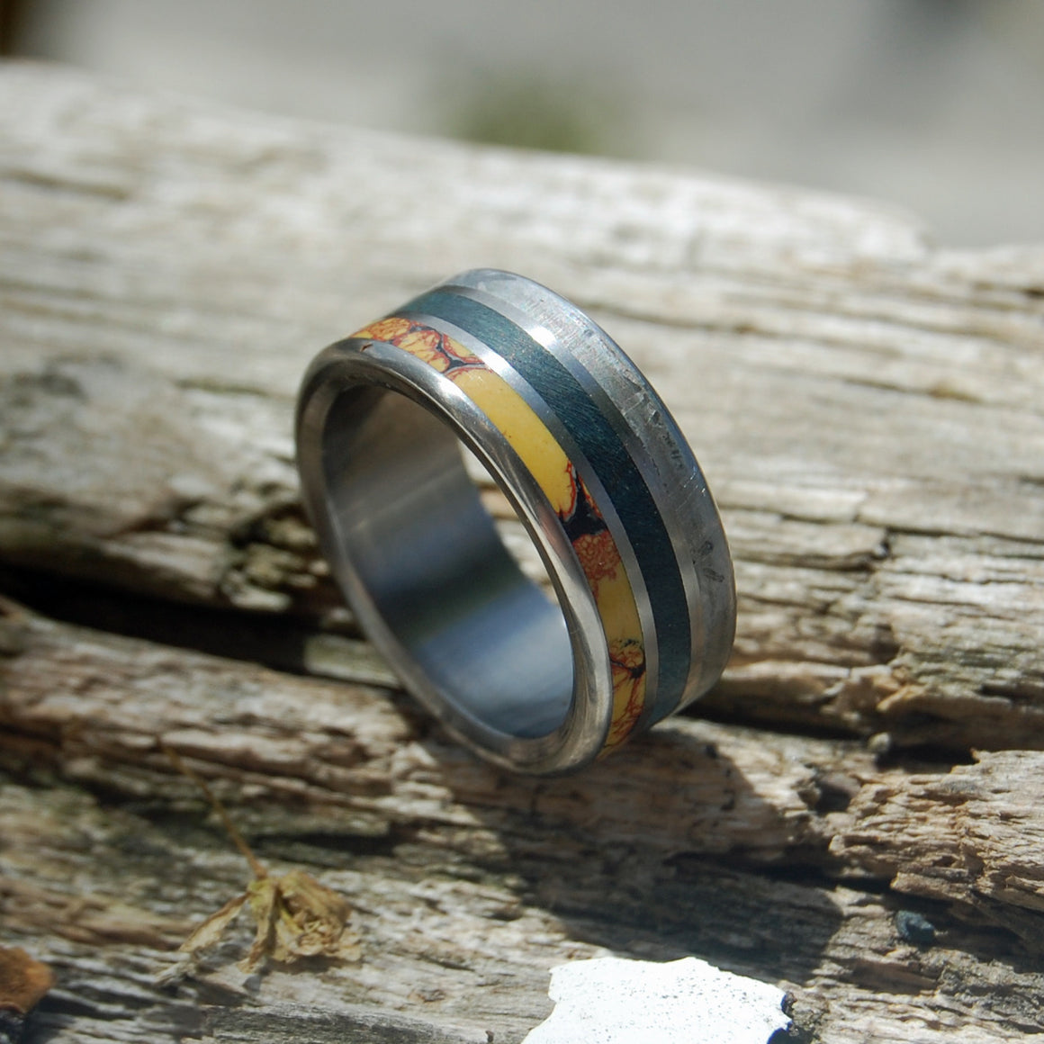 BLUE DINO KILLER | Dinosaur Bone & Meteorite & Blue Box Elder Wood Titanium Wedding Bands - Minter and Richter Designs