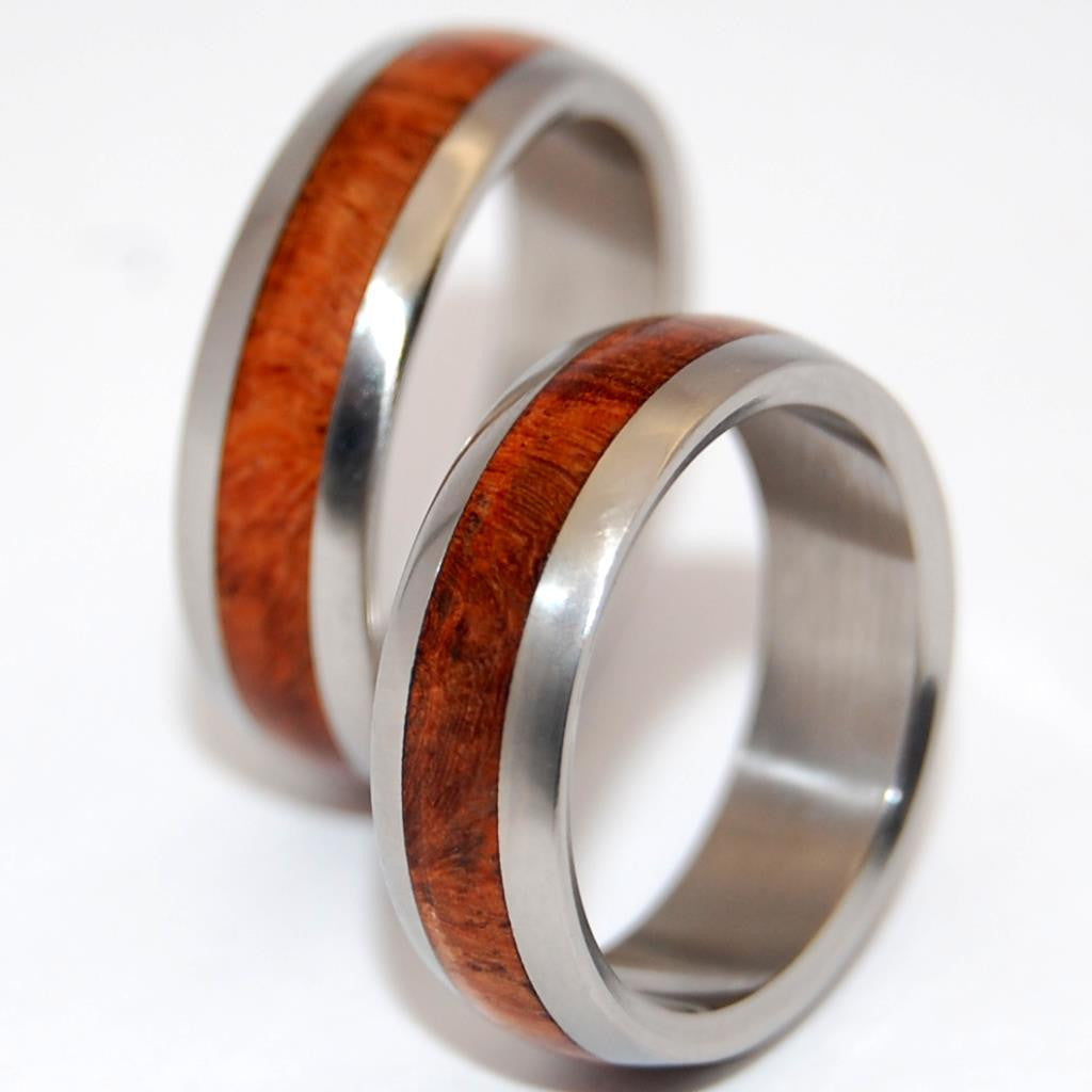 AMOUR | Matching Wood & Titanium Wedding Rings - Minter and Richter Designs