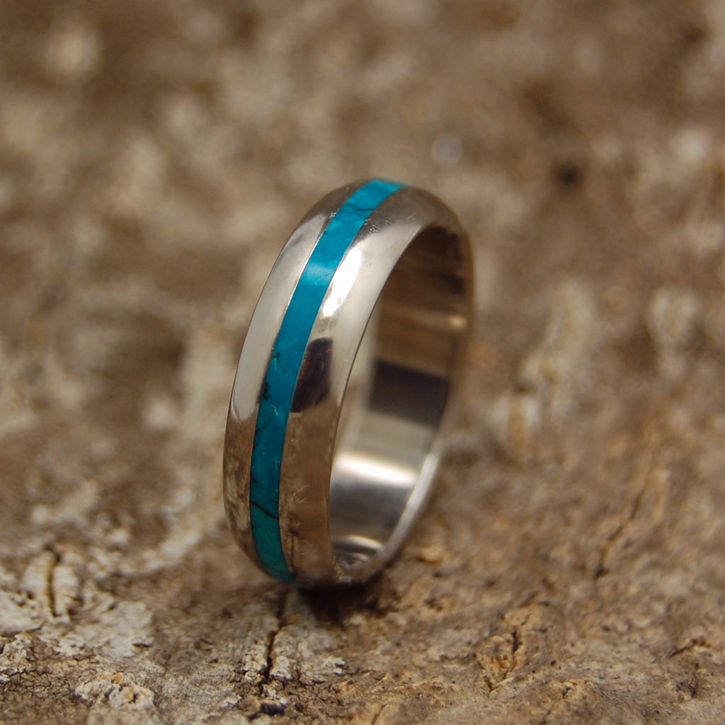 Chyrsocolla Sea Dome | Wooden Titanium Wedding Ring