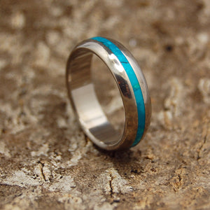 CHRYSOCOLLA SEA DOME | Chrysocolla Stone & Titanium - Unique Wedding Rings - Women's Wedding Rings - Minter and Richter Designs