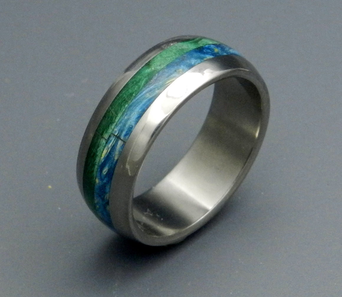 BLISS | Blue Box Elder Wood & Titanium - Wedding Ring Sets - Unique Wedding Rings - Minter and Richter Designs