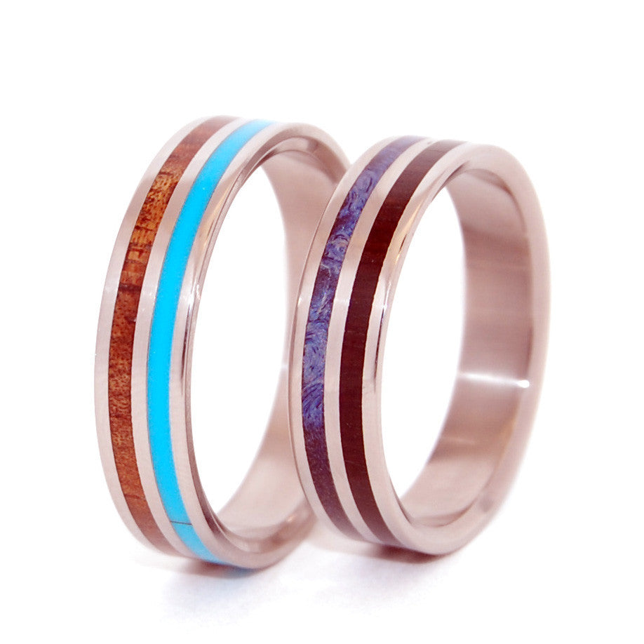 WALKING ALONG HOLDING HANDS | Turquoise Resin & Hawaiian Koa Wood - Unique Wedding Rings - Minter and Richter Designs