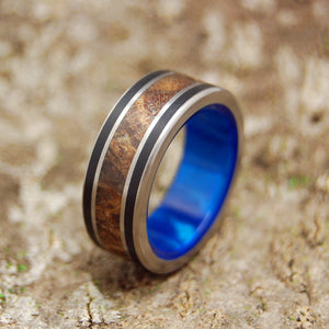 DREAM KING | Dark Maple Wood & Black Onyx Blue Marbled Opalescent Resin Titanium Wedding Rings - Minter and Richter Designs